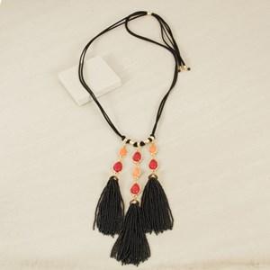 Stone & Bead Tassel Adjustable Necklace