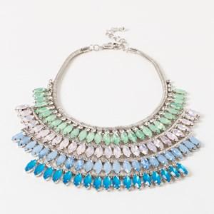 Four Row Almond Crystal Necklace