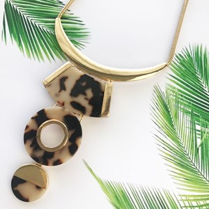 Three Drop Resin & Metal Shapes Necklace