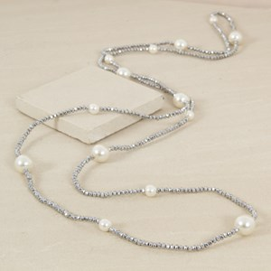 Long Crystal & Pearl Interval Necklace
