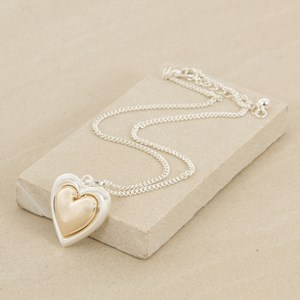 42cm Med Two Tone Heart Necklace