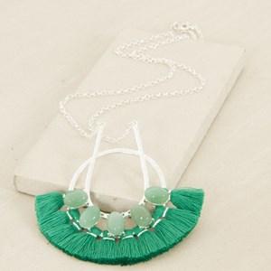 Fringe End Circle Pendant Necklace