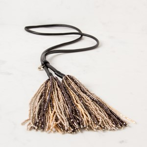 Large Crystal Tassels Leather Necklace