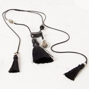 Oriental Tassel Resin & Stone Necklace