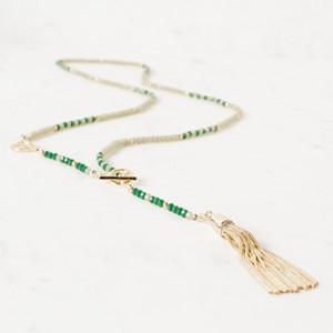 Crystal Patterned Metal Tassel Toggle Necklace