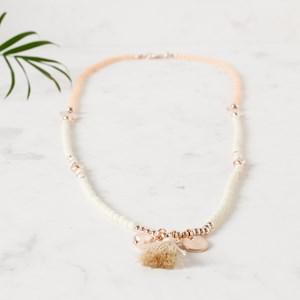 Two Tone Bead Metal Balls & Mini Tassel Necklace