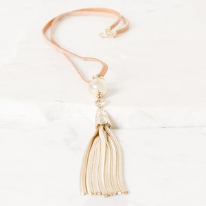 Metal Tassel & Ball Leather Necklace