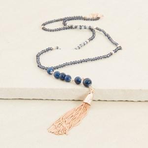 Metal Tassel Crystal Patterned Bead Necklace