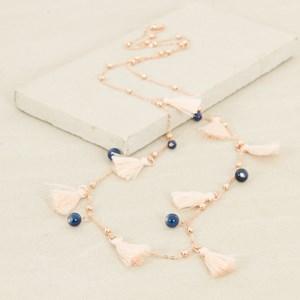 Fine Chain Glass Bead & Mini Tassel Necklace
