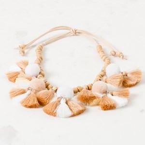 Timber Bead Pom Pom and Tassel Tie Back Necklace