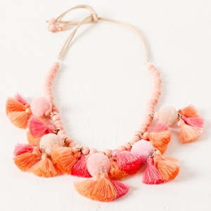 Timber Bead  Pom Pom and Tassel Tie Back Necklace