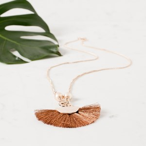 Long Crescent Fringe Necklace