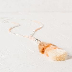Long Beaded Multi Layer Tassel Necklace