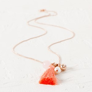 Beads & Tassel Cluster Fine Chain Necklace
