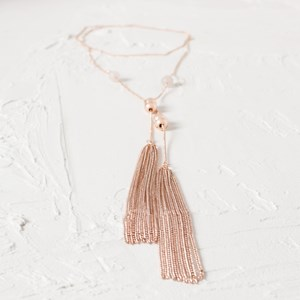 Fine Chain Bead Tassel Necklace