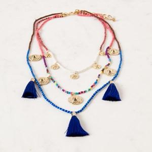 Multi Layer Tiny Bead & Tassel Necklace
