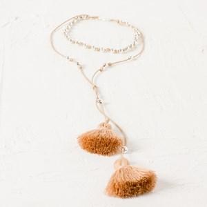 Adjustable Metal Ball On Cord Tassel Necklace