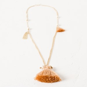 Fine Chain Stone & Tassel Necklace