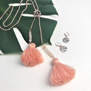 Fine Chain Stone & Tassel Toggle  Necklace
