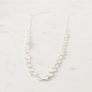 Long Textured Disc Necklace