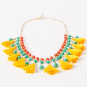 Mutli Glass & Tassel Collar Necklace
