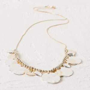 Mika Textured Two Tone Disc Necklace