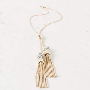 Stone Metal Ball Tassel Snake Chain Necklace