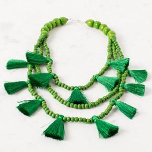 Three Strand Wooden Bead & Tassel Necklace
