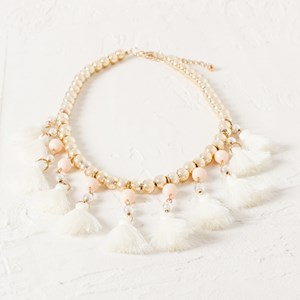 Two Tone & Tassel Collar Necklace