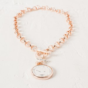 Belcher Chain Two Tone Coin & Bar Necklace