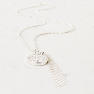 Fine Chain Tassel & Pineapple Coin Necklace