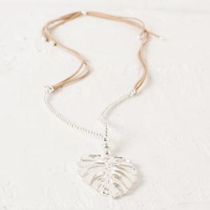 Monstera Leaf Faux Suede Adjustable Necklace