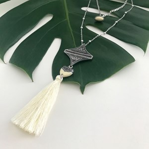 Aztec Drop Tassel Long Necklace