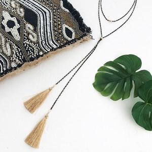 Multi Layer Faux Lariat & Tassel Necklace
