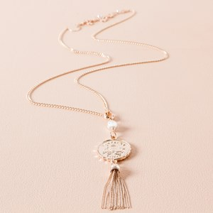 Sixpence Coin & Tassel Necklace
