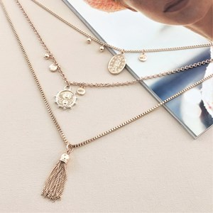 Three Layer Charm Necklace