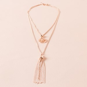 Two Layer Medallion Tassel Necklace