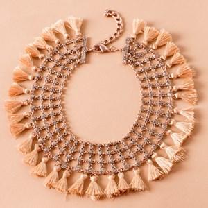 Patterned Mesh Tassel Collar