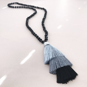 Knotted Crystal Trio Tassel Necklace