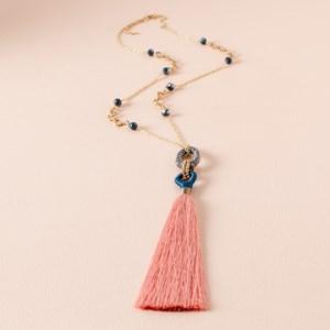Linked Rings Long Tassel Necklace