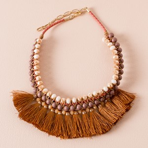 Crystal & Bead Tassel Front Necklace