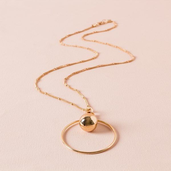 Metal Ball & Ring Pendant Long Necklace