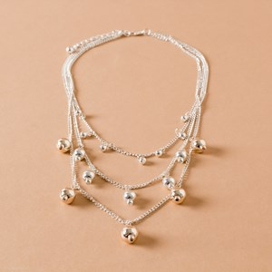 Mini Moroccan Ball Charm Layered Necklace