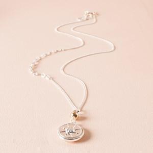 Sun God Disk Pendant Chain Mix Long Necklace