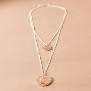 Double Layer Coin Charms Fine Necklace