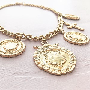 Vintage Shield & Faith Charms Chain Necklace