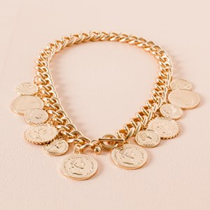 Mixed Coins Chain Statement Toggle Necklace