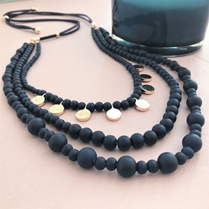 Glass Bead Layers Leather Adjustable Necklace