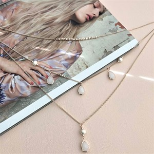 Three Layer Pearl Discs Drops Necklace