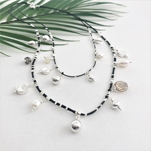 Cord Layered Pearl Disc Necklace